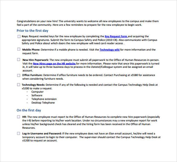 new hire checklist for supervisors
