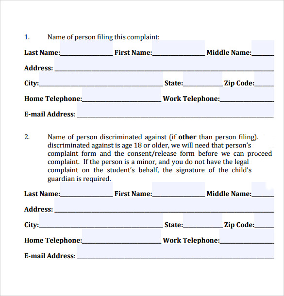 Civil Complaint Form   Free Samples  Examples Formats