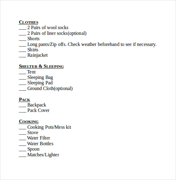 Superb Weekend Backpacking Checklist Template