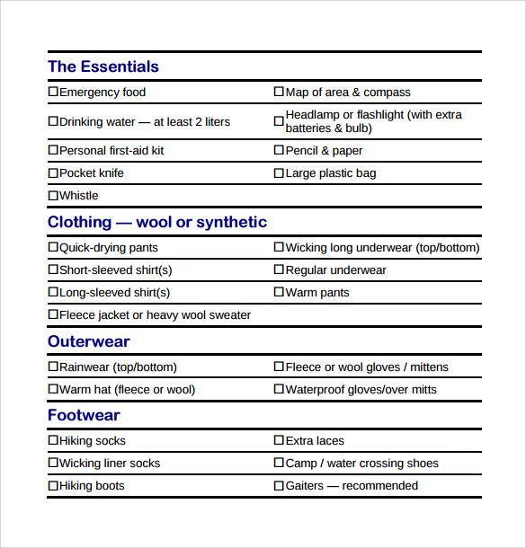Sample Backpacking Checklist - 7+ Documents In Word, Pdf