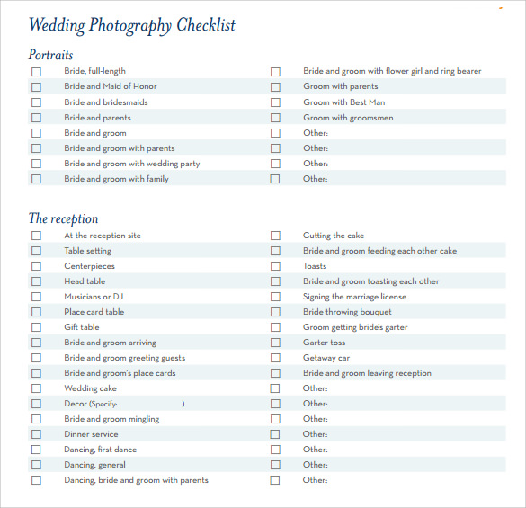 Sample Wedding Planning Checklist   Documents In Pdf Word