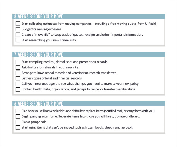 Stunning Sample Moving Checklist Images  Best Resume Examples By