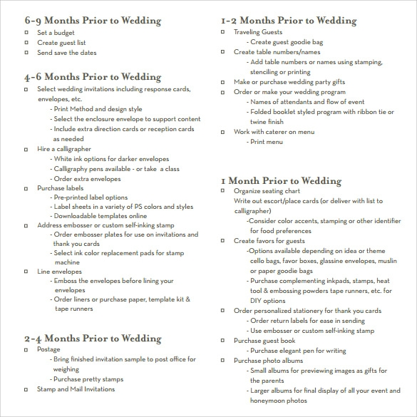 Sample Wedding Planning Checklist Template Best Wedding Checklist