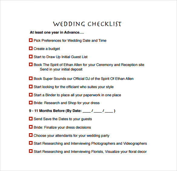 example wedding preparation checklist