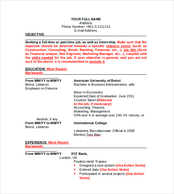 resume in microsoft word