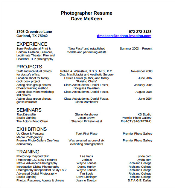 photographer resume template