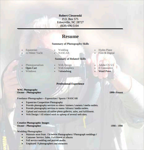 sample photographer resume