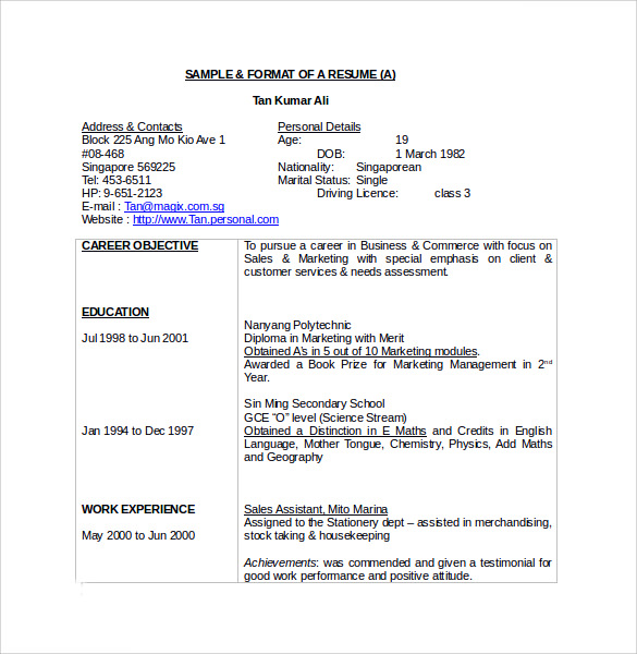 word resume sample