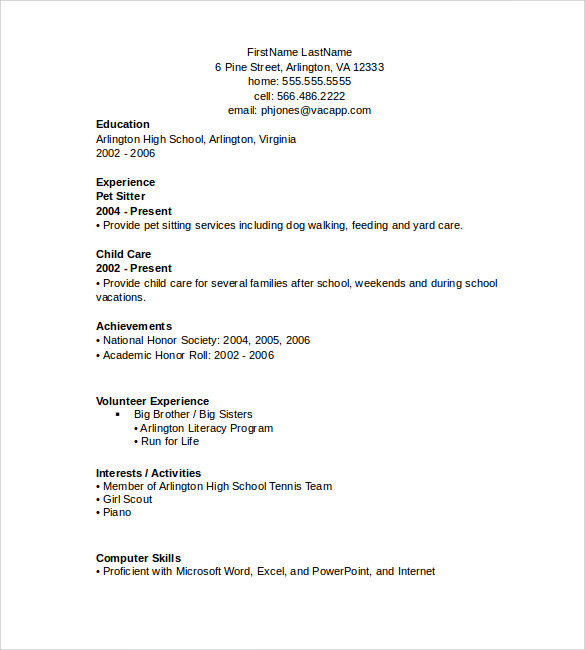 Resume In Simple Word Format