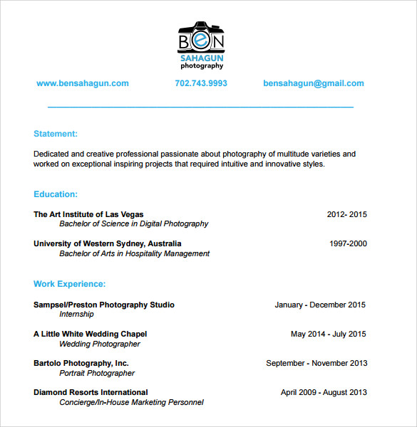 sle photographer resume template 19 in pdf