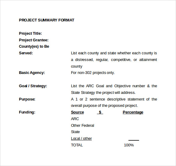 download project summary