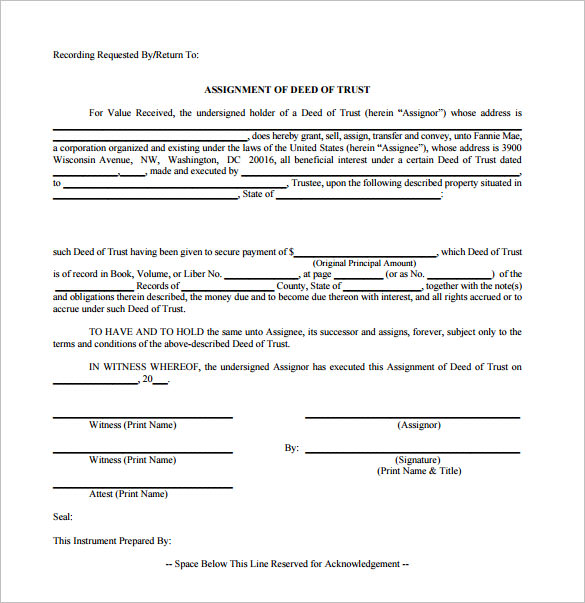Sample Deed Of Trust Form – 9+ Documents In Pdf, Word