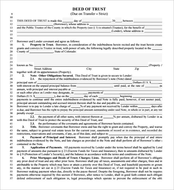 Sample Deed Of Trust Form   Documents In Pdf Word