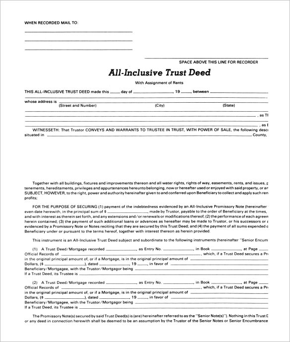 sample deed of trust form