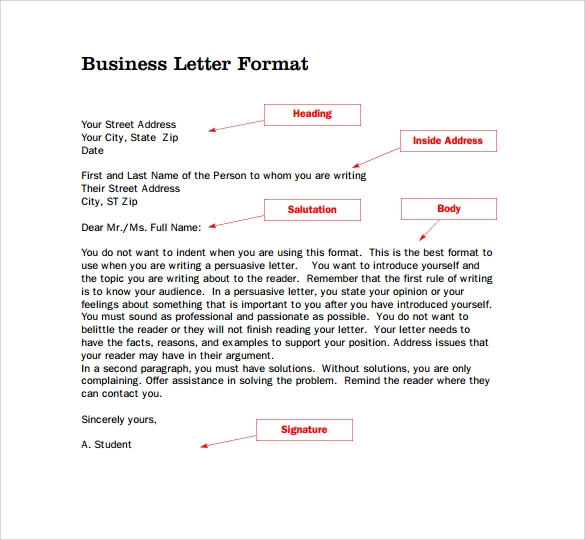 sample standard business letter format
