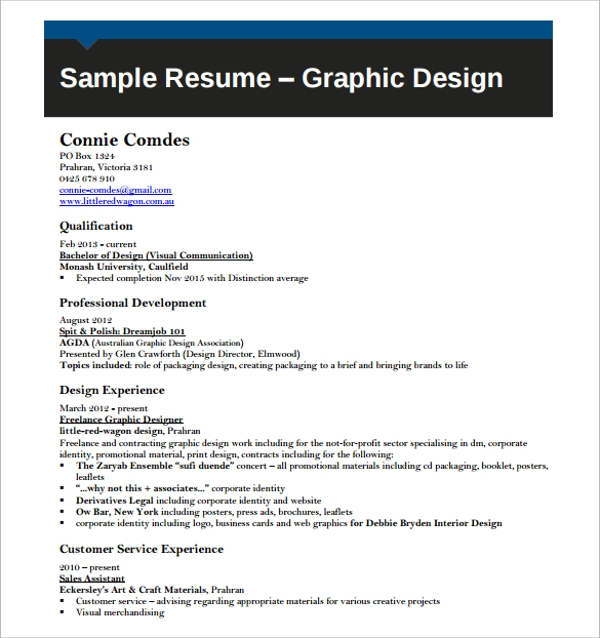 Sample Designer Resume Download Graphic Designer Resume Sample