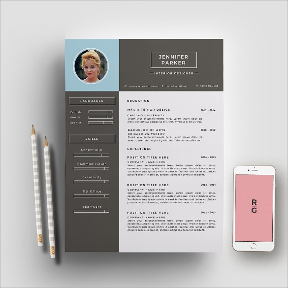 interior designer resume template