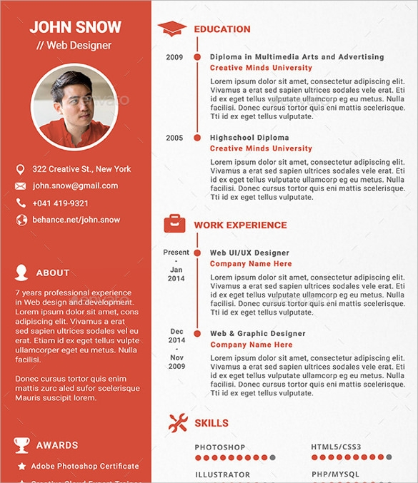 Free 13 Sample Designer Resume Templates In Pdf Psd Indesign