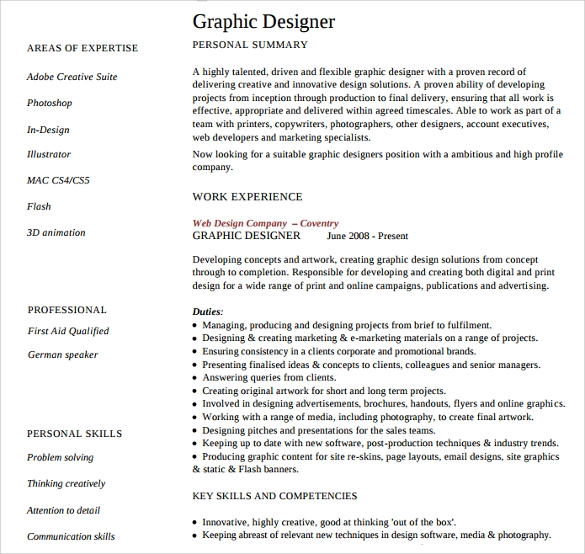 sample designer resume template