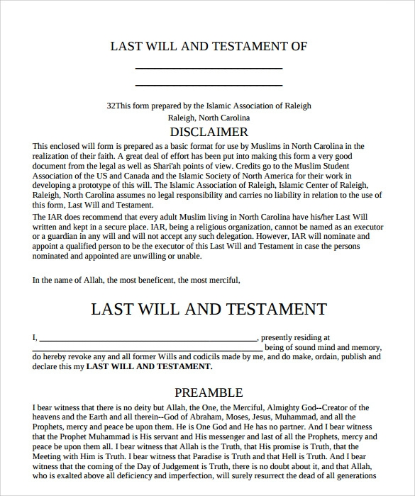 Sample Last Will And Testament Form 9 Free Examples
