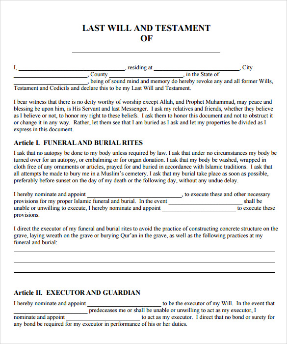 Sample last will and testament form 9 free examples for Easy last will and testament free template