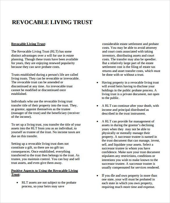 Sample Living Trust Form Template   Samples Examples Format