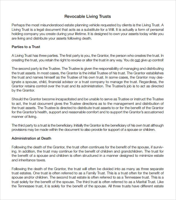 revocable living trust template - 28 images - sle living trust ...
