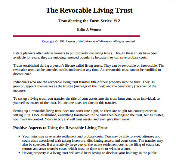 Sample Living Trust Form Template 10 Samples Examples