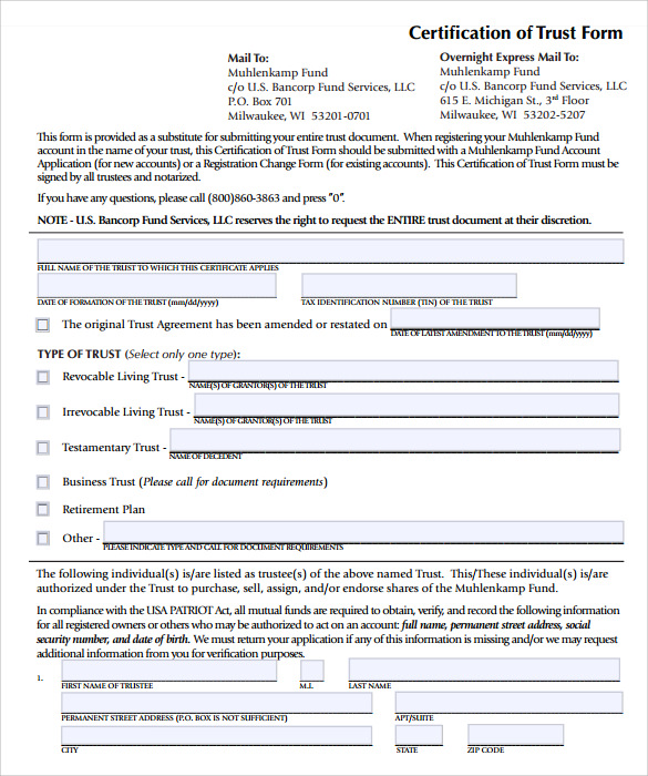 Sample Living Trust Form Template – 10 Samples Examples
