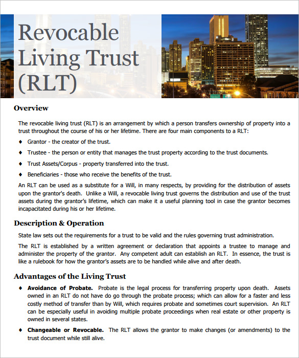 sample revocable living trust form format