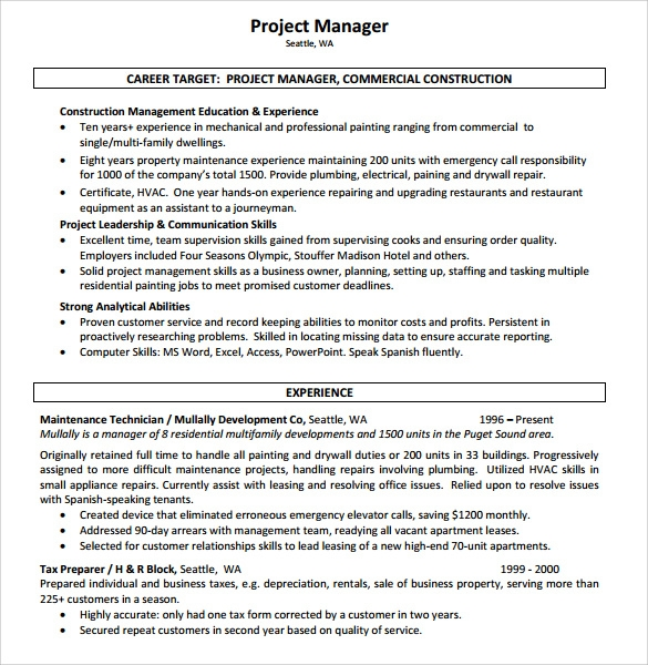 Sample Construction Resume Template 11 Free Documents