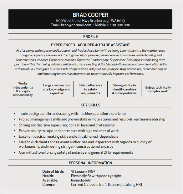 sample construction resume template