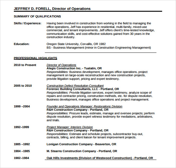sample construction resume template 11 free documents in pdf word