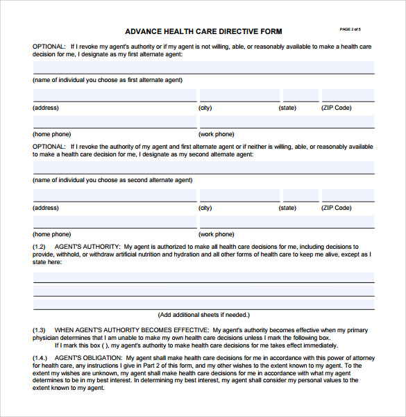 Advance directive form 9 free samples examples format for Advance care directive template