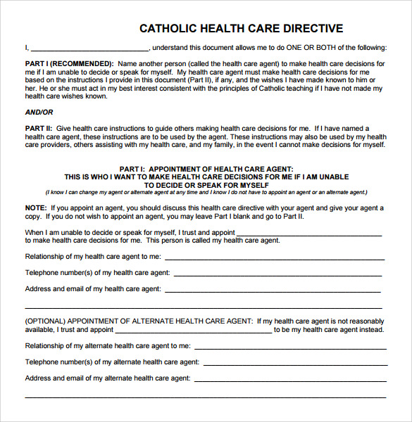 Advance Directive Form   Free Samples Examples Format