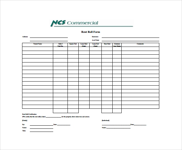 Rent Roll Form Sample Download