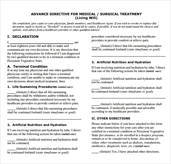 Advance Directive Form 9 Free Samples Examples Format