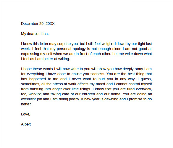 Apology Letter To Wife – Apology Love Letter