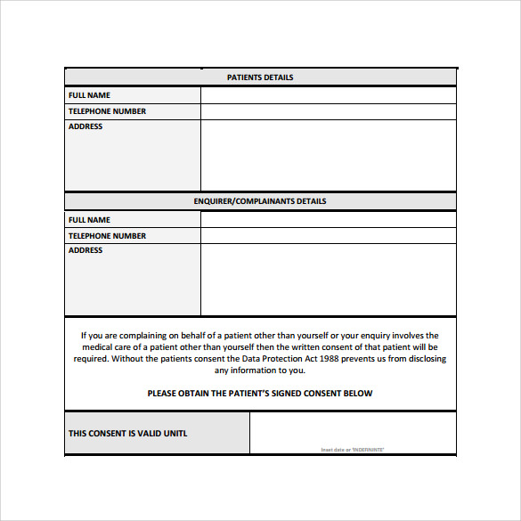 Patient Complaint Form   Samples  Examples  Formats