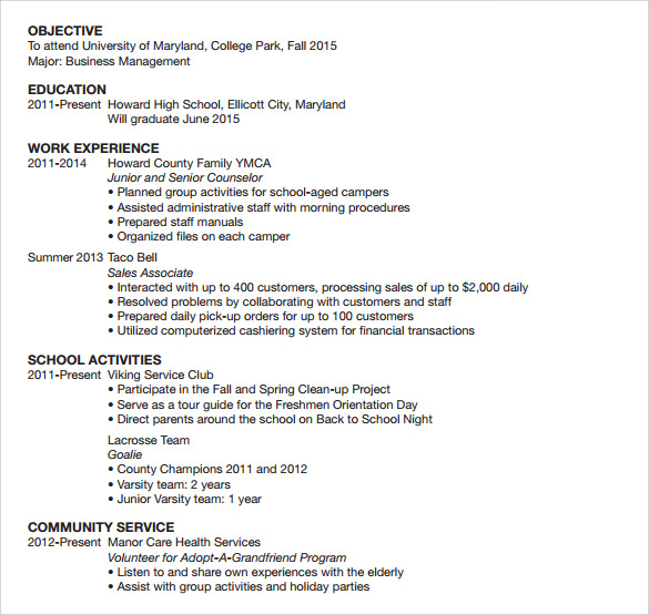 sample student resume template 11 free documents in pdf