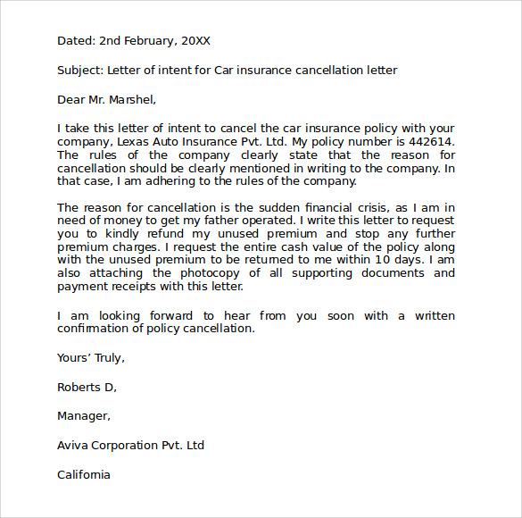 Insurance Cancellation Letter. Letter S Le Besides In E ...