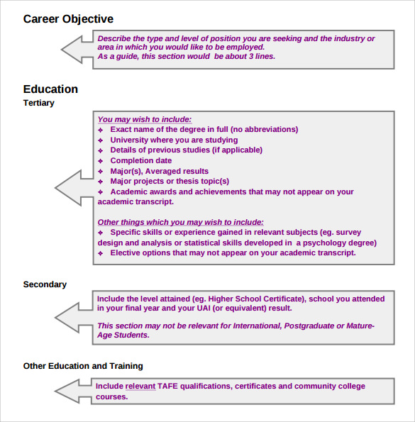 format student resume
