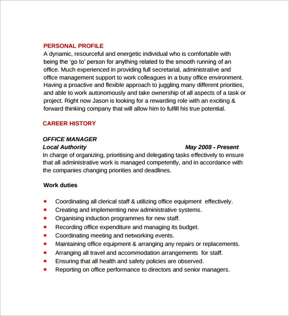 Sample Office Manager Resumes - 7+ Download Free Documents In Pdf