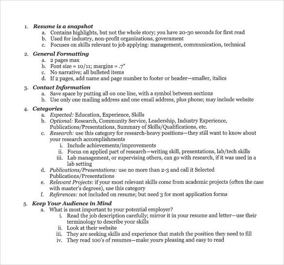 student resume outline download