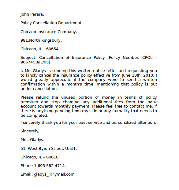 insurance cancellation letter luxury insurance cancellation letter cover letter examples 12704