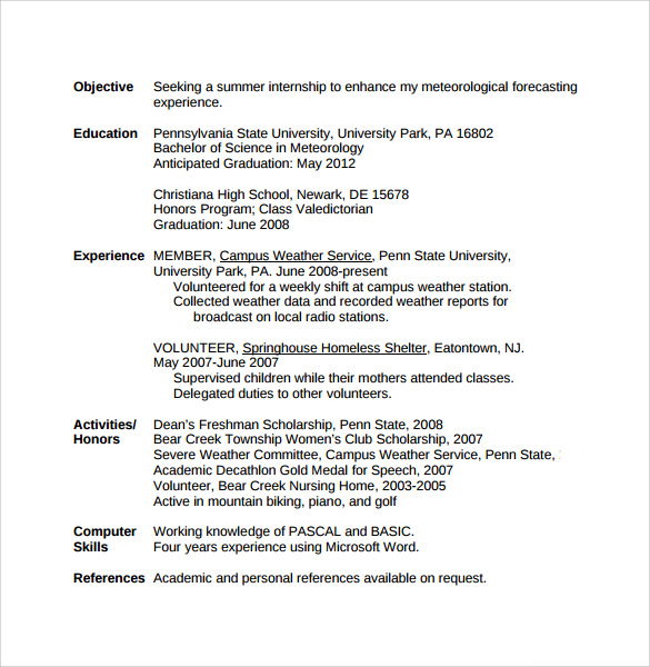 7 college student resume templates download for free