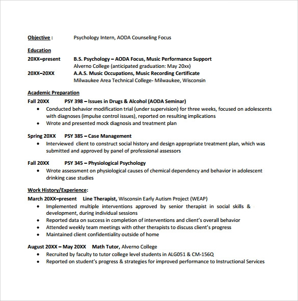 Sample College Student Resume Template 10 Download Free