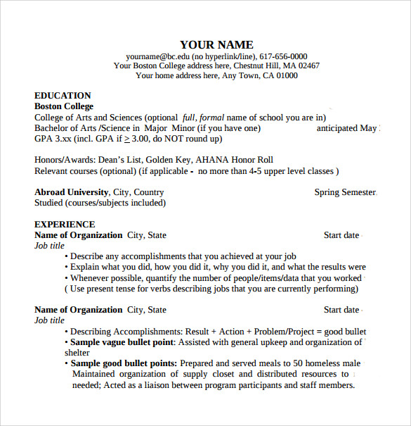 Sample College Student Resume Template - 10+ Download Free