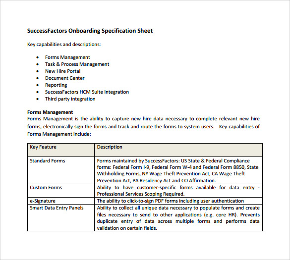 Specification Sheet Sample   Documents In Pdf