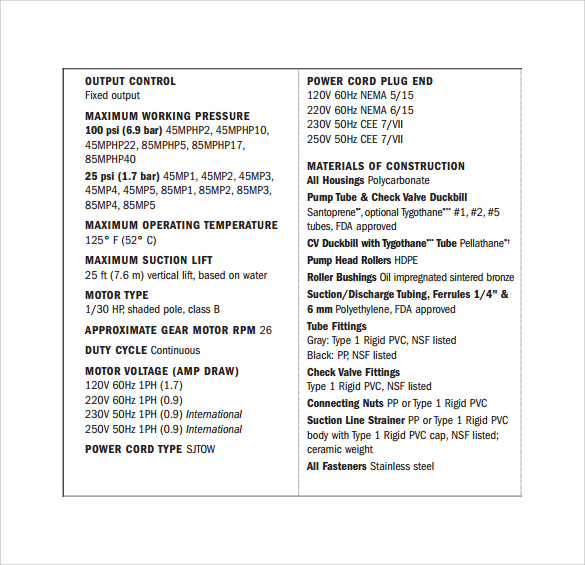 Specification sheet sample 11 documents in pdf for What is spec home